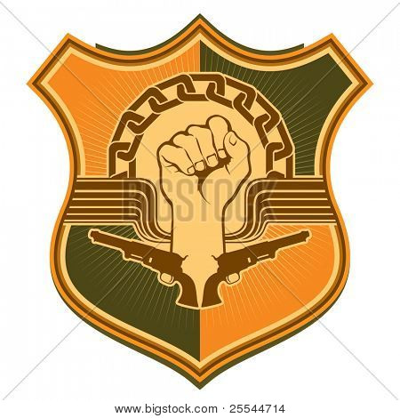 Illustrated crest with strong fist. Vector illustration.