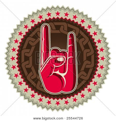 Illustrated rock and roll hand sign. Vector illustration.