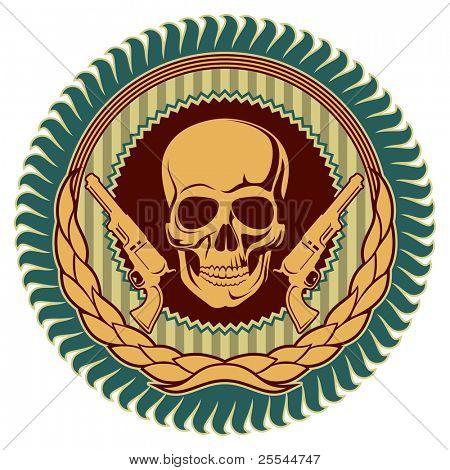 Illustrated vintage emblem with skull. Vector illustration.
