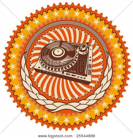 Illustrated retro emblem with turntable. Vector illustration.