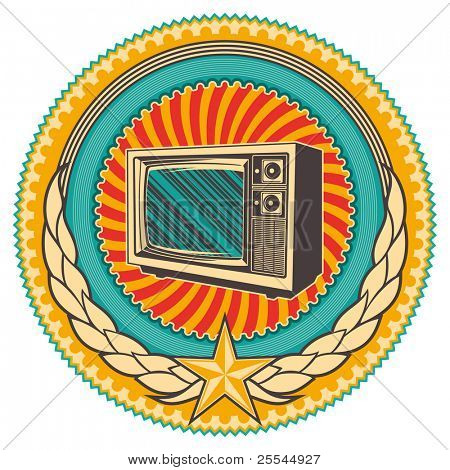 Illustrated retro emblem with old tv. Vector illustration.