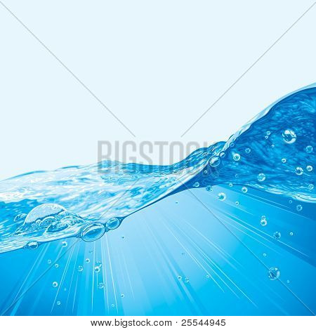 Water Wave Background With Bubbles