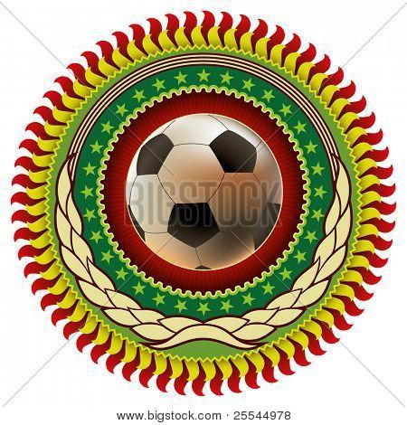 Illustrated colorful stylish football emblem. Vector illustration.