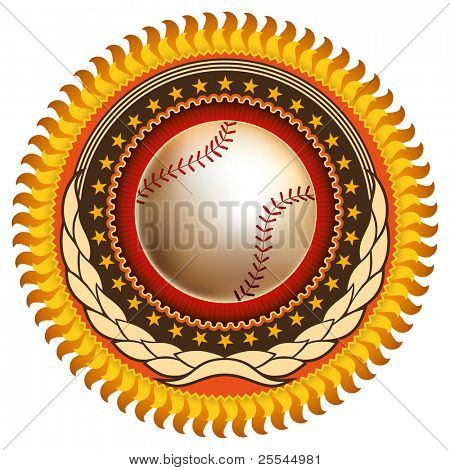 Colorful illustration of baseball emblem. Vector illustration.