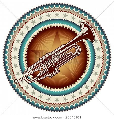 Stylish vintage label with trumpet. Vector illustration.