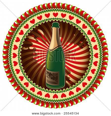 Stylish label with champagne bottle. Vector illustration.