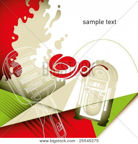 Artistic layout with composed retro objects. Vector illustration.