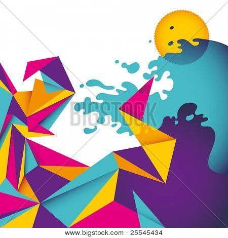 Abstract summer background with colorful forms. Vector illustration.