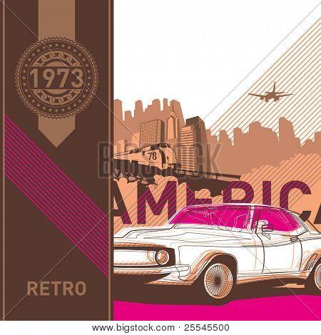Ilustrado fondo retro estilo americano. Ilustración del vector.
