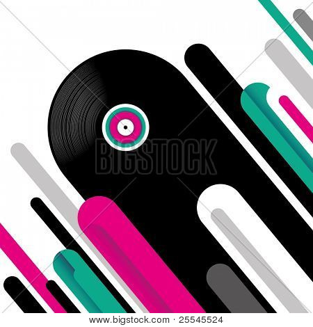 Modish musical background with vinyl. Vector illustration.