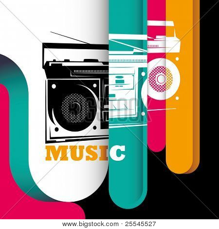 Illustrated modern background with stylized radio. Vector illustration.