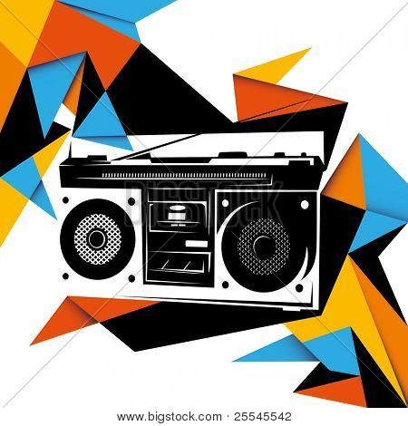 Illustrated trendy background with retro radio. Vector illustration.