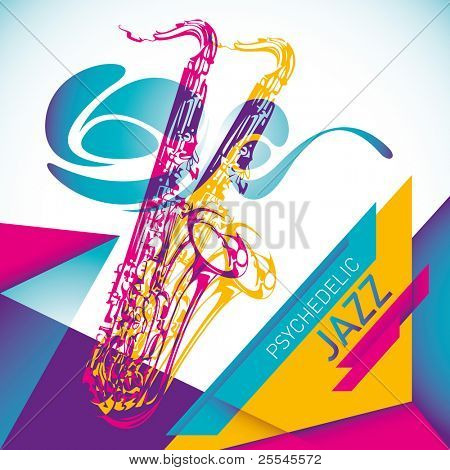 Psychedelic jazz background in color. Vector illustration.