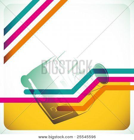 Designed retro layout in color. Vector illustration.