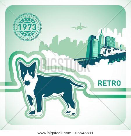 Fondo retro con perro ilustrado. Ilustración del vector.
