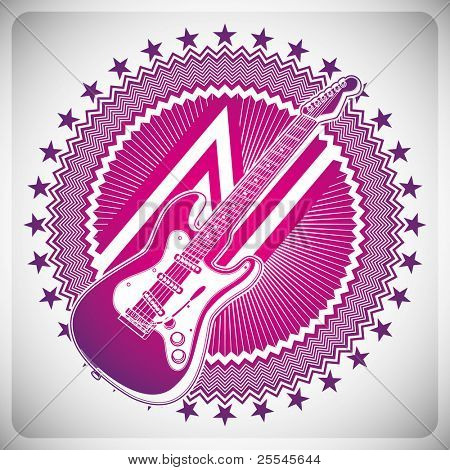 Modish emblem with electric guitar. Vector illustration.