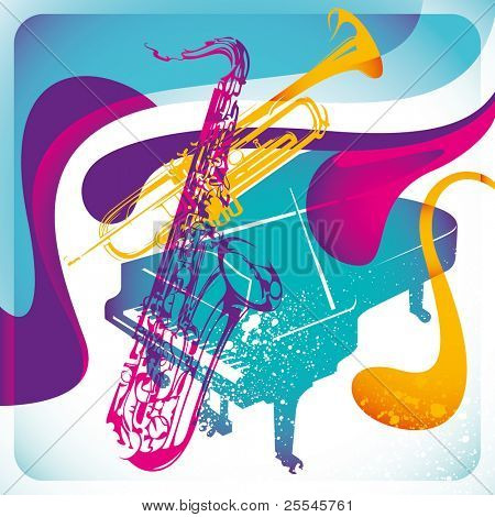 Modish musical background in color. Vector illustration.