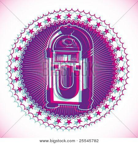 Artistic retro emblem with jukebox. Vector illustration.