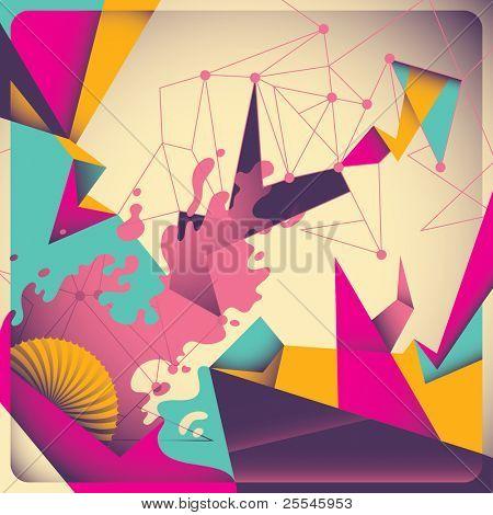 Abstracción retro colorido. Ilustración del vector.