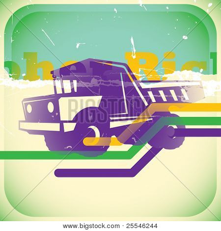 Retro truck illustration. Vector illustration.