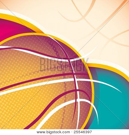 Illustrated basketball banner. Vector illustration.