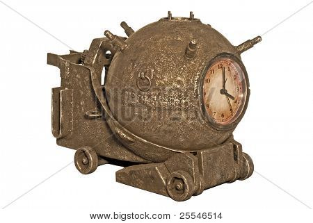 Rusted sea bomb with clock on white background