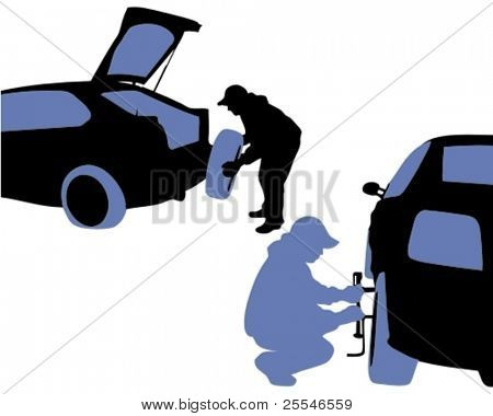 Vector illustration. Man changing a vehicle punctured wheel tire.