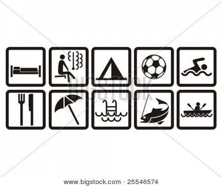 conjunto de pictogramas de ocio
