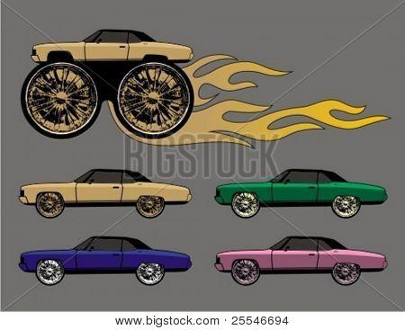 Blink, blink big wheels car ryders.