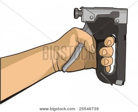 Vector illustration. Human hand holding staple gun.