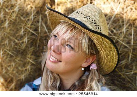 Blonde Girl`s Portrait In Cowboy Hat