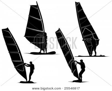 Isolated of windsurfers silhouette illustration.