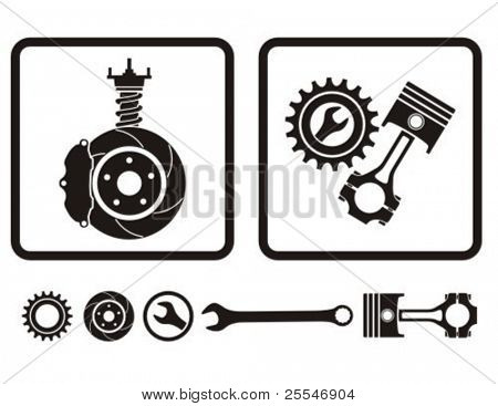 Car absorber, brake, engine repair icons.