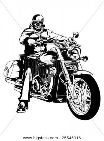 Biker on a chopper.