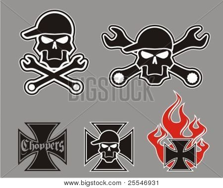 Vector choppers cross with skulls.