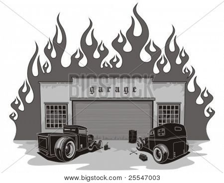 Garaje de barras de rata. Ilustración del vector.