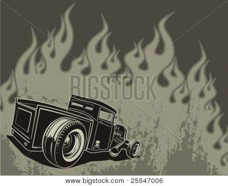 Barra de rata sobre un fondo con las llamas. Ilustración del vector.