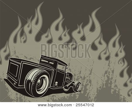 Rat rod on a background with flames.
