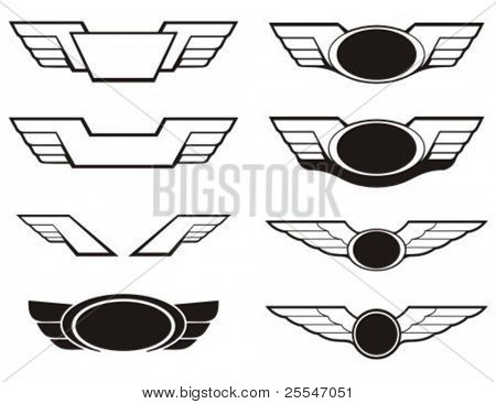 Aviation insignia wing set. Vector graphic elements.