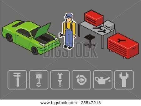Auto mechanic repair a car. Vector isometric illustration.