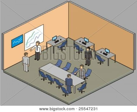 Customisable office setup. Vector pixel art style illustration.