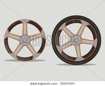 Car metal alloy wheel rim with tire isolated on gray. Vector illustration.