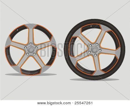 Auto Metal alloy Felge mit Reifen auf grau isoliert. Vektor-Illustration.