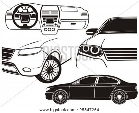 Car exterior and dashboard view. Vector illustration.