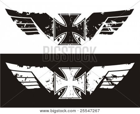 Choppers cross with wings. Vector illustration.