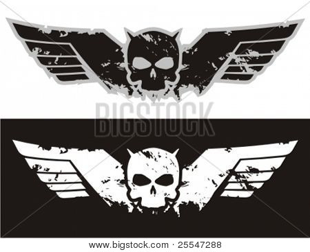 Skull with wings. Vector illustration.