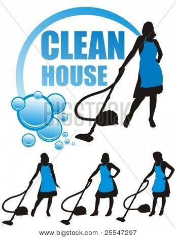 Young housewife with vacuum cleaner over white background. Vector illustration.