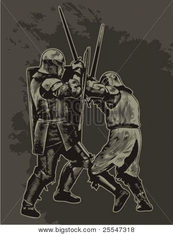 Fighting medieval knights. Vector illustration.