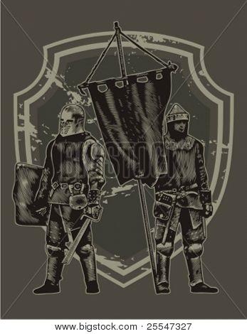 Two knights with flag. Vector illustration.