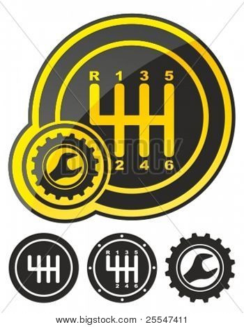 Gear shift icon - vector illustration.